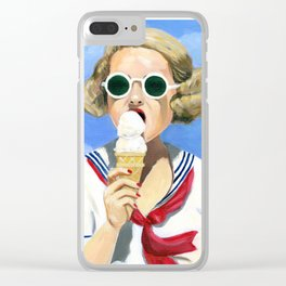 Betty at the beach Clear iPhone Case
