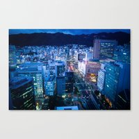 kobe Canvas Prints featuring City Lights in Kobe pt1 by Tomoyuki Murakami