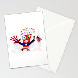 Patriotic Fourth of July Firecracker Stationery Cards