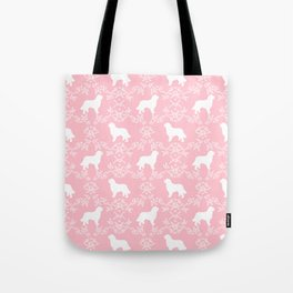 Bernese Mountain Dog florals dog pattern minimal cute gifts for dog lover silhouette pink and white Tote Bag