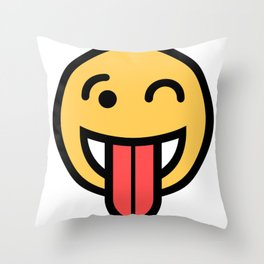 Smiley Face   Big Tongue Out And Squinting Joking Happy Face Throw Pillow