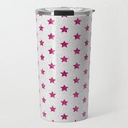 Abstract neon pink white faux glitter stars pattern Travel Mug
