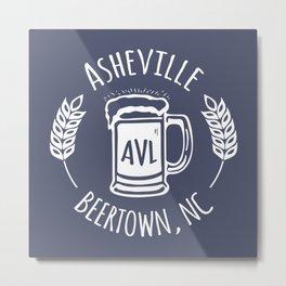 Asheville Beer - AVL 3 White on Bluegrey Metal Print