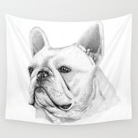 british Wall Tapestries featuring British Bulldog  by sarah illustration