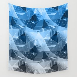 Abstract polygonal pattern.Blue, grey triangles. Wall Tapestry