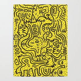 Yellow Graffiti Street Art Posca  Poster