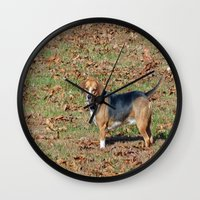 beagle Wall Clocks featuring Beagle by Frankie Cat