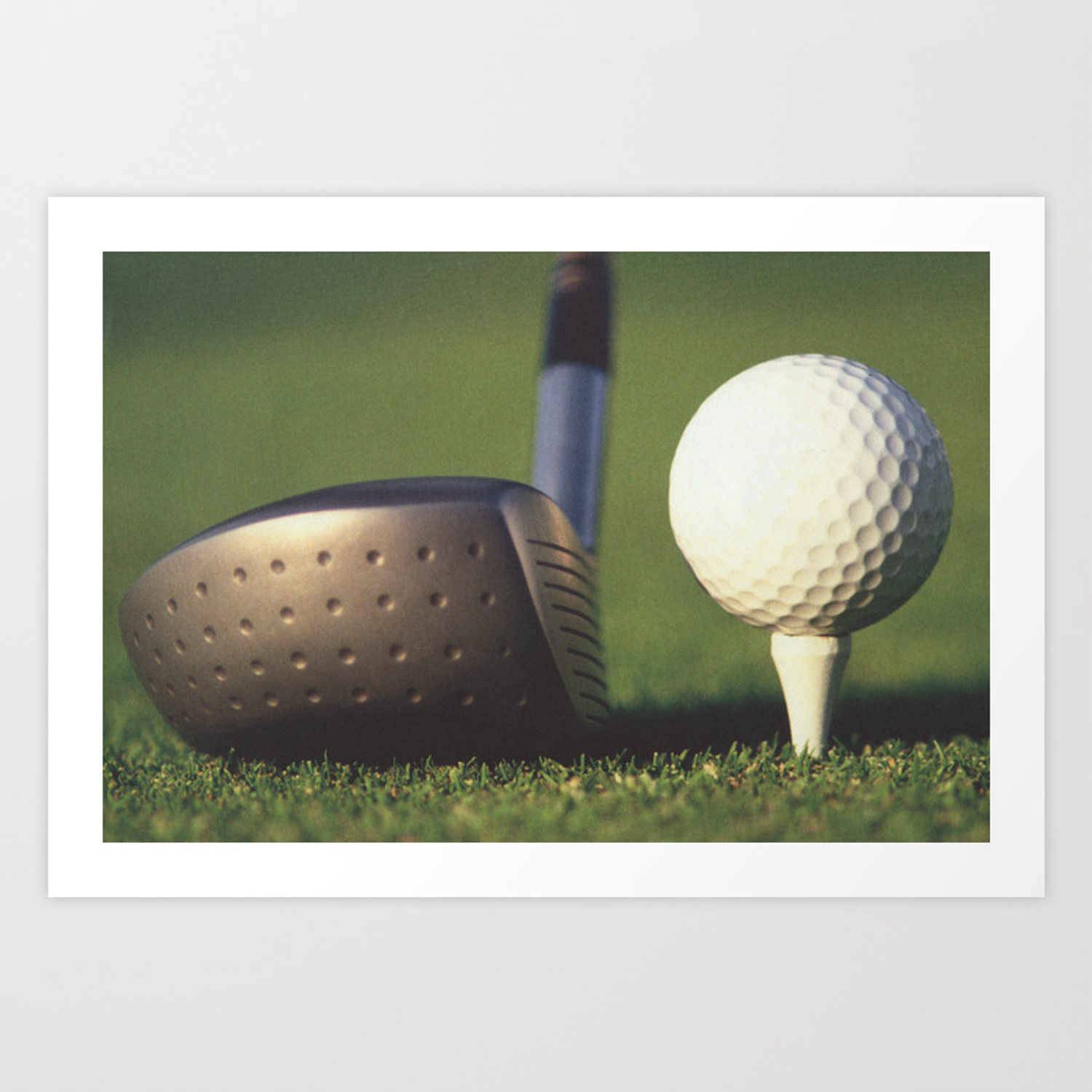 Golf Club And Ball On Tee Art Print By Pipafineart Society6