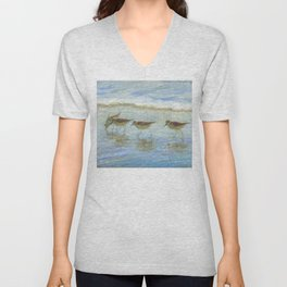 Sandpipers, A Day at the Beach Unisex V-Neck