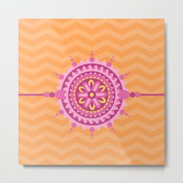 Mandala Belt Orange Zig Zag Pattern Metal Print