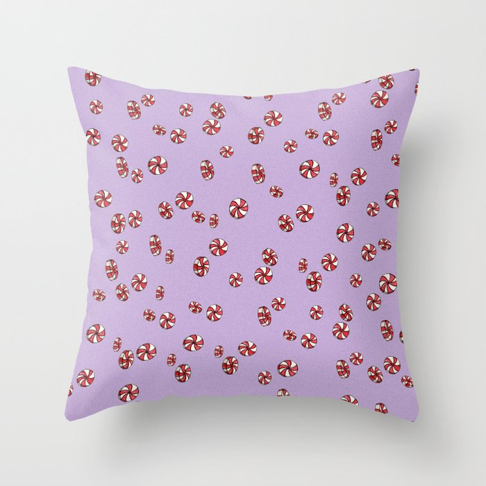 Peppermint Candy in Purple Throw Pillow