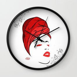 Lady Wrap (Red) Wall Clock