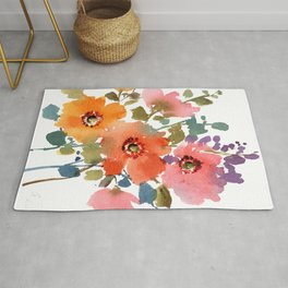 Spring Blooms-1 Watercolor Loose Floral Painting Mylittlebasil Studio Rug