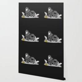 Gorilla & Bananas,Funny Wild Animal Graphic,Black & White with Brass Gold Metallic Accent Cartoon Wallpaper