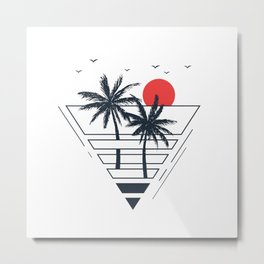 Sunset. Palms. Geometric Style Metal Print