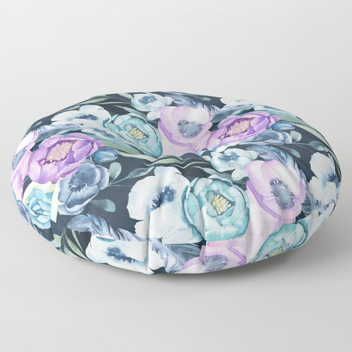 Dark Floral Spring Floor Pillow