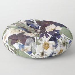 Blue Pressed Florals Floor Pillow