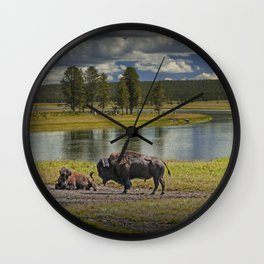 Buffalo by Yellowstone River Wall Clock
