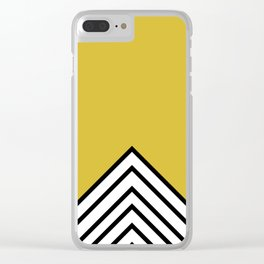MUSTARD BLACK AND WHITE STRIPES Clear iPhone Case