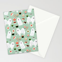 Japanese Spitz sushi kawaii dog portrait custom pet lover pattern by pet friendly Stationery Cards