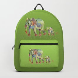 Colorful Elephant Family Backpack