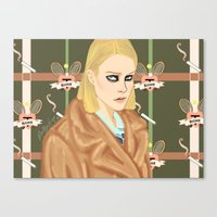 tenenbaum Canvas Prints featuring Margot Tenenbaum  by Maritza Lugo