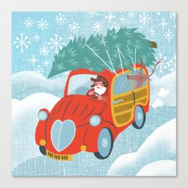 happy holidays car Canvas Print
