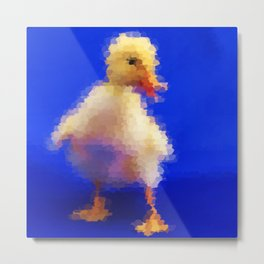 pretty little cute duck painted in blue background Metal Print