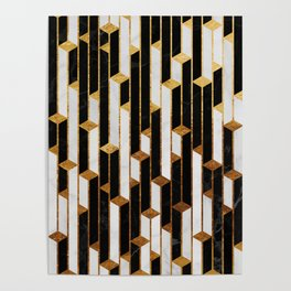 Marble Skyscrapers - Black, White and Gold Poster