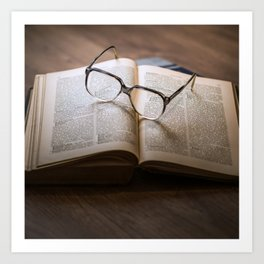 Reading Glasses and Open Book - Vintage Photography Art Print