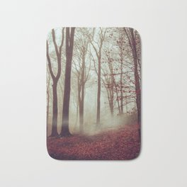 Late fall Forest in Fog Bath Mat