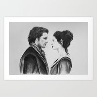 outlander Art Prints featuring Jamie and Claire ~ Outlander by Helenfaerieart