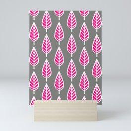 Beech Leaf Pattern, Fuchsia Pink and Silver Gray Mini Art Print