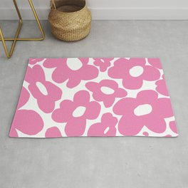 60s 70s Hippy Flowers Pink Rug