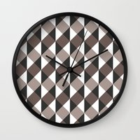 gray pattern Wall Clocks featuring Pattern Gray by Sonia Marazia