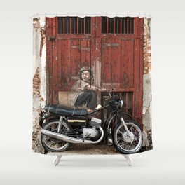 Boy On Motorcycle Shower Curtain