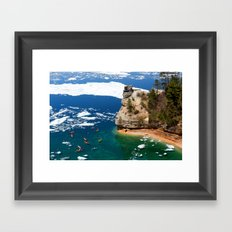 Kayaks & Ice Floes at Miners Castle - Pictured Rocks National Lakeshore Framed Art Print