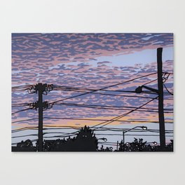 Telephone Poles at Sunset 1 Canvas Print
