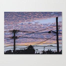 Telephone Poles at Sunset 1 Canvas Print