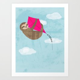 sloth flying kite Art Print