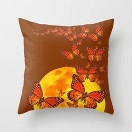 MONARCH BUTTERFLIES GOLDEN MOON BROWN FANTASY Throw Pillow