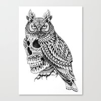 bioworkz Canvas Prints featuring Great Horned Skull by BIOWORKZ