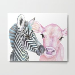 Pink Cow, Blue Zebra Metal Print