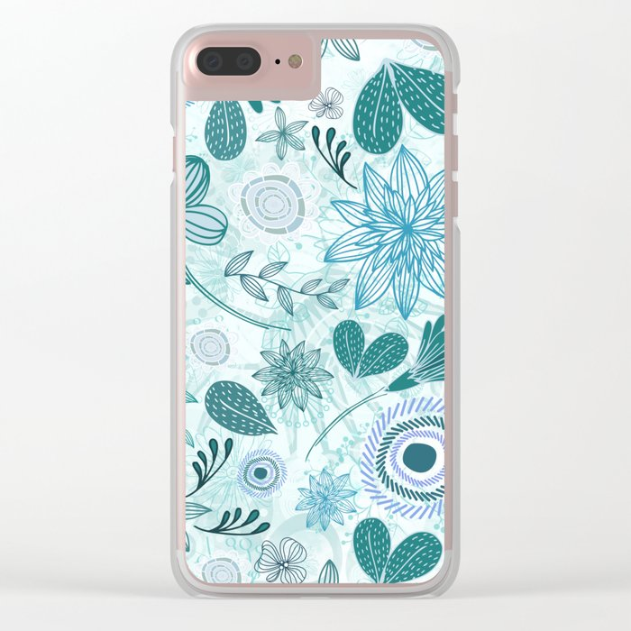 Teal Flowery Doodles Clear iPhone Case
