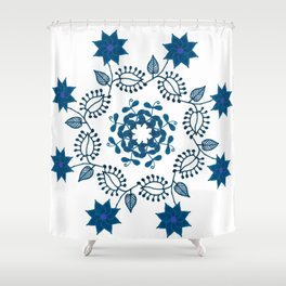 Blue flowers painted markers Shower Curtain