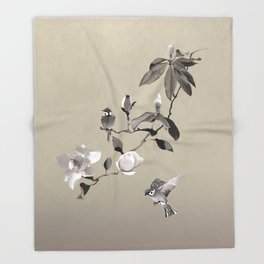 Magnolia And Two Sparrows Throw Blanket