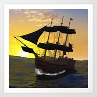 pirate ship Art Prints featuring Pirate ship  by nicky2342
