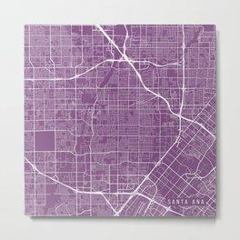 Santa Ana Map, USA - Purple Metal Print