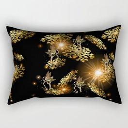 Golden Snow Fairies Rectangular Pillow