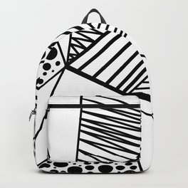 Modern abstract black white geometric stripes polka dots Backpack